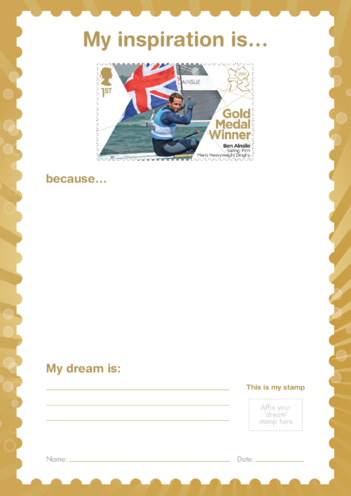 Thumbnail image for the My Inspiration Is- Ben Ainslie- Gold Medal Winner Stamp Template activity.