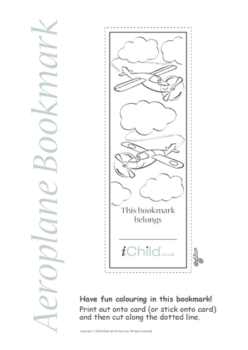 Thumbnail image for the Aeroplane Bookmark activity.