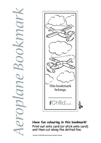 Thumbnail image for the Aeroplane Bookmark activity.