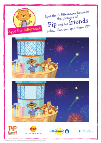 Thumbnail image for the Bonfire Night Spot the Difference (Pip Ahoy!) activity.