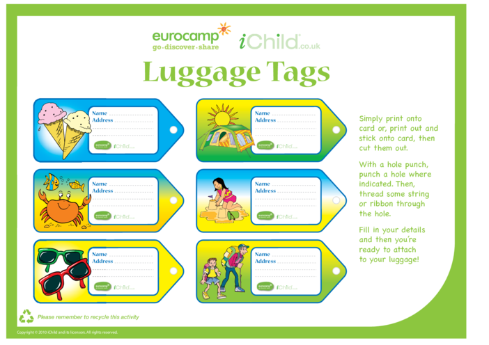 Thumbnail image for the Luggage Tags activity.