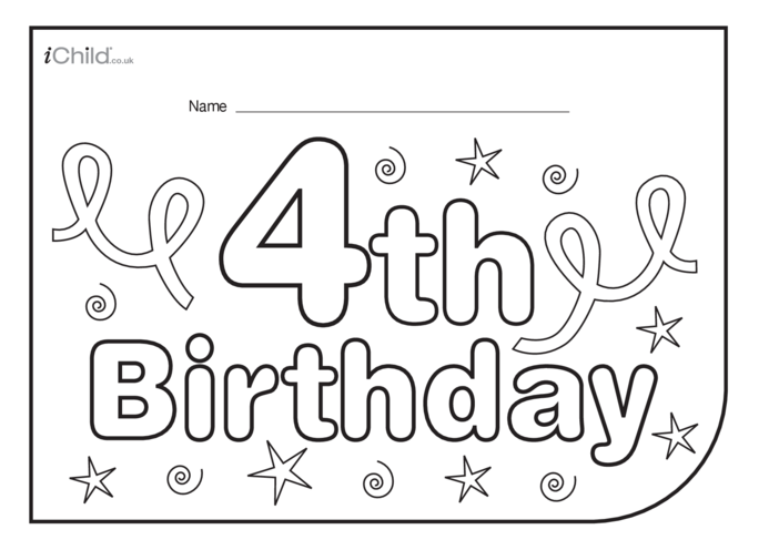 Thumbnail image for the Birthday Party Place Mats for 4 year old 4th birthday activity.