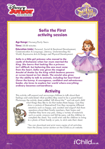 Thumbnail image for the Sofia the First Activity Session- Disney Junior activity.