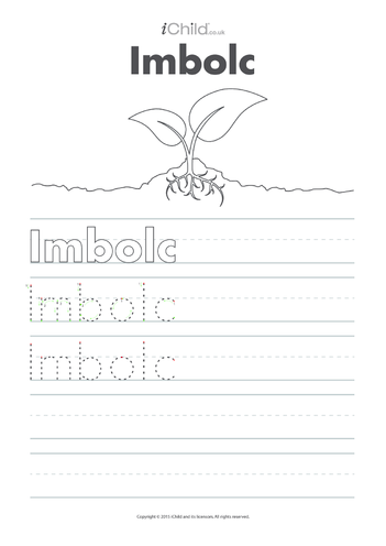 Thumbnail image for the Imbolc Handwriting Practice Sheet activity.