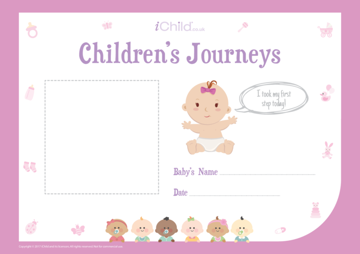 Thumbnail image for the Children's Journeys: My First Step (pink form) activity.