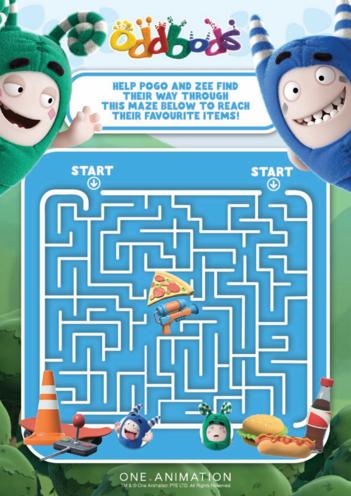 Thumbnail image for the Oddbods Maze - Pogo & Zee activity.