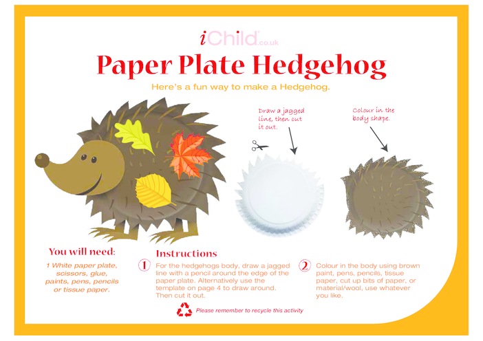 Thumbnail image for the Hedgehog Paper Plate Craft activity.