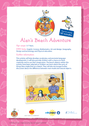 Thumbnail image for the Key Stage 1 Lesson Plan: Alan's Beach Adventure (Pip Ahoy!) activity.