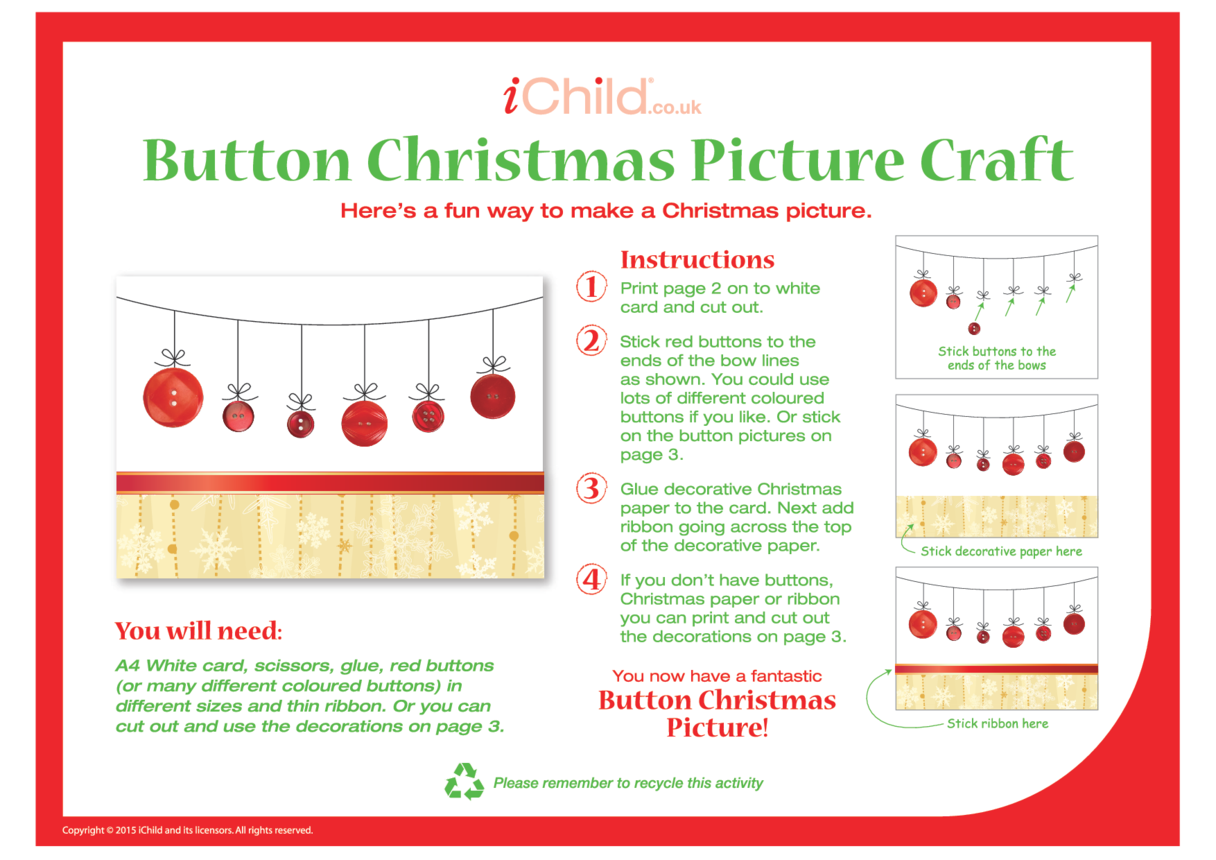 Button Christmas Picture Craft