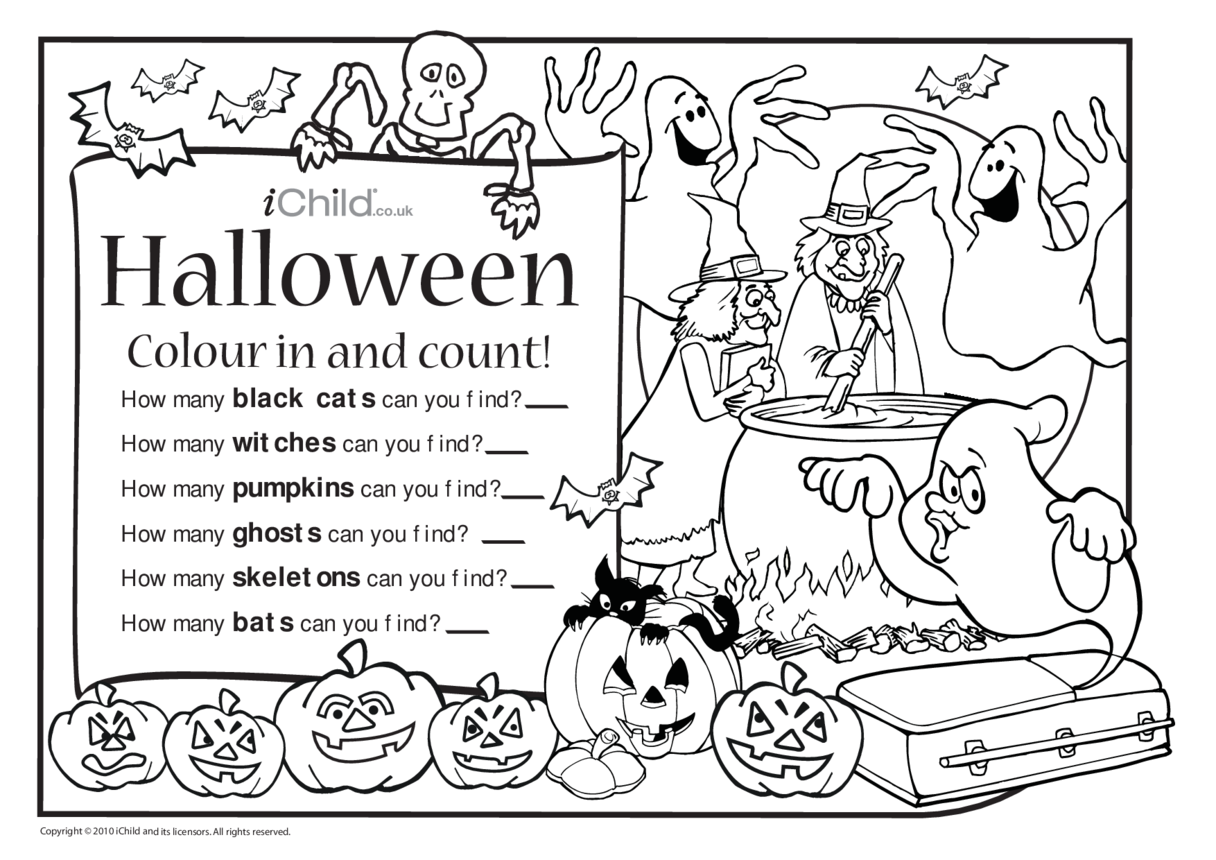Colour in & Count - Halloween