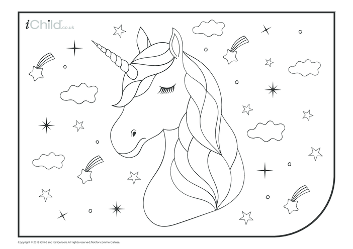 Thumbnail image for the Portrait of a Unicorn Colouring in Picture  activity.