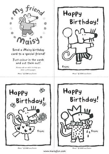 Thumbnail image for the Maisy Party Kit: Birthday Cards activity.