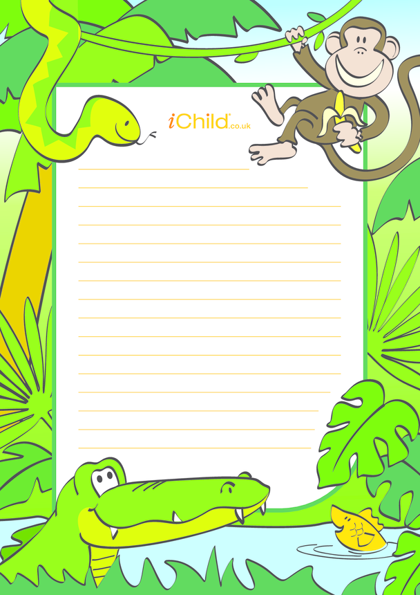 Jungle Lined Writing Paper Template