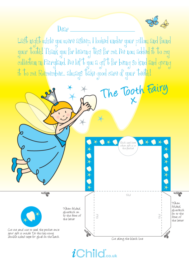 Letter From Tooth Fairy Template (Blue fairy)