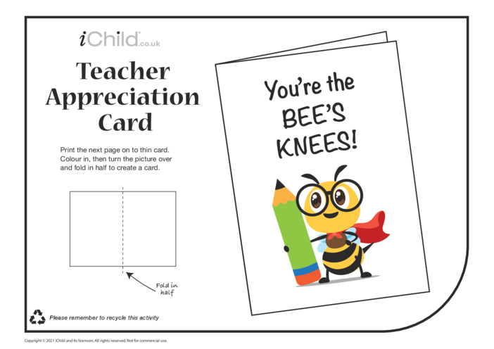 Thumbnail image for the Bee's Knees! Teacher Appreciation Card activity.