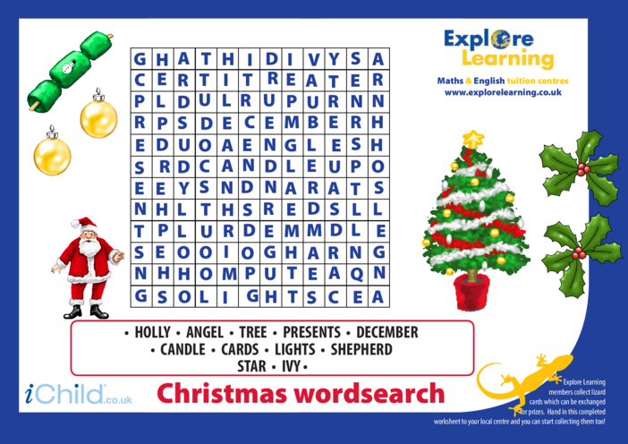 Thumbnail image for the Christmas Wordsearch activity.