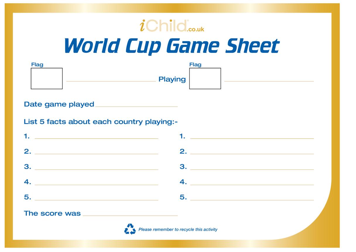 World Cup Game Score Sheet