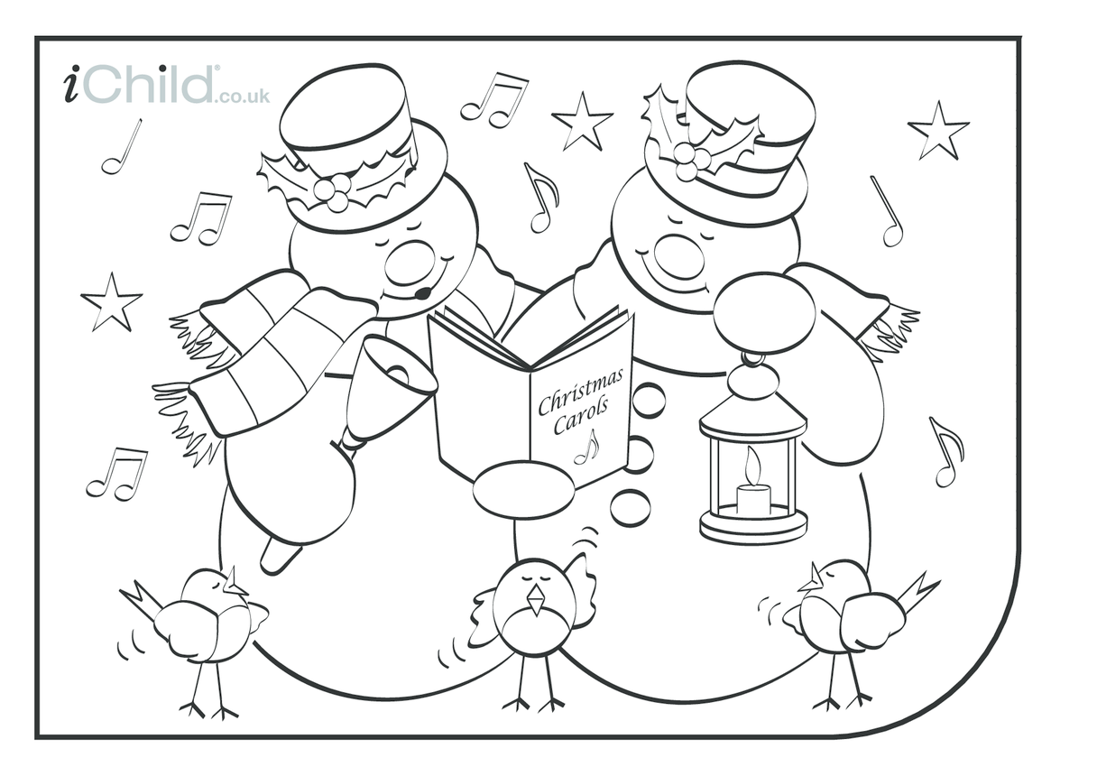 Snowman Christmas Colouring in picture