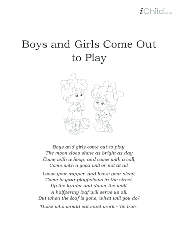 Thumbnail image for the Boys and Girls Come Out to Play Lyrics activity.