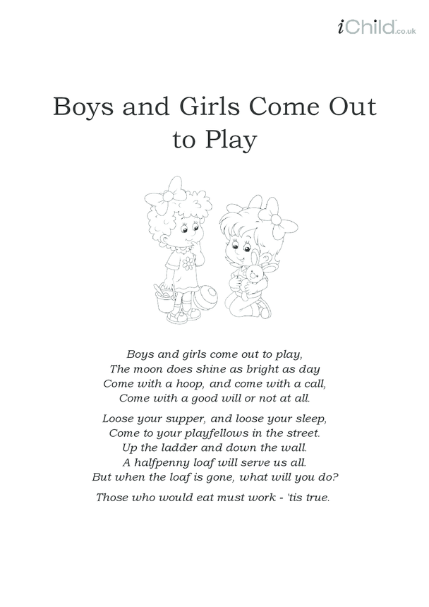 Boys and Girls Come Out to Play Lyrics