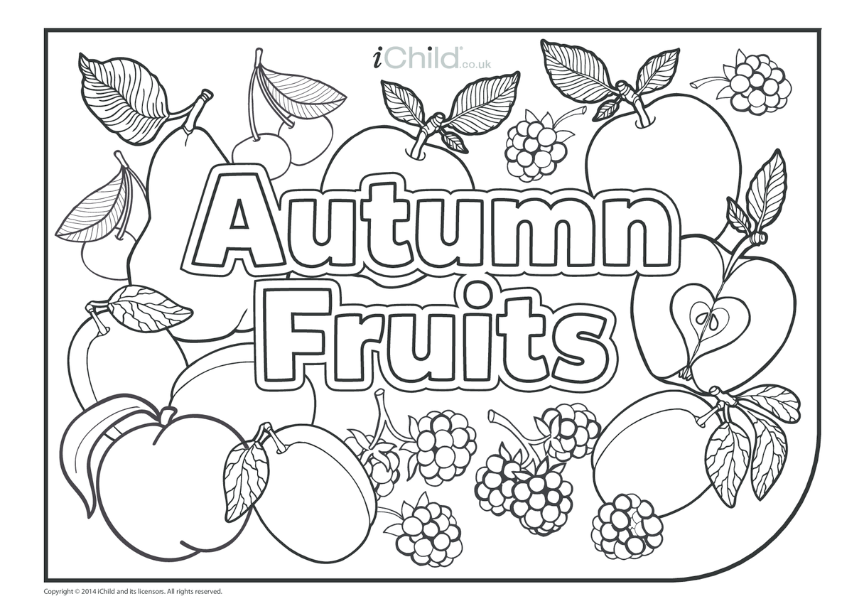 Autumn Fruits Colouring in Picture