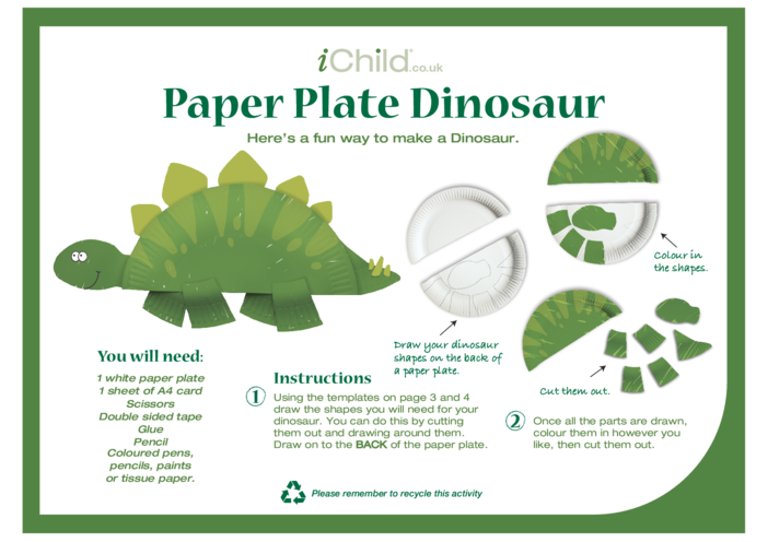 Thumbnail image for the Dinosaur Paper Plate Craft activity.