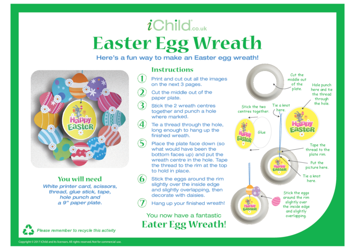 Thumbnail image for the Easter Egg Wreath Paper Plate Craft activity.