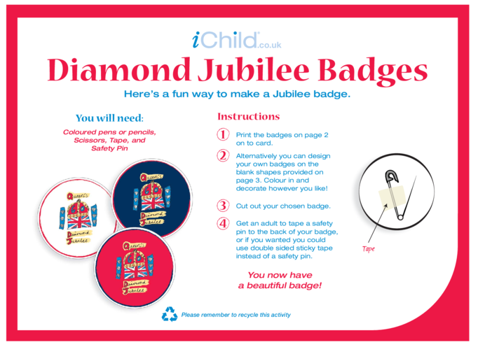 Thumbnail image for the Diamond Jubilee Badge Making Craft activity.