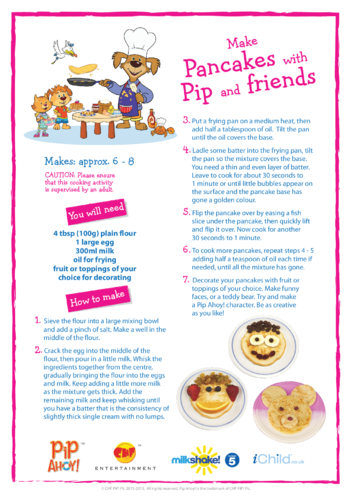 Thumbnail image for the Make Pancakes with Pip (Pip Ahoy!) activity.