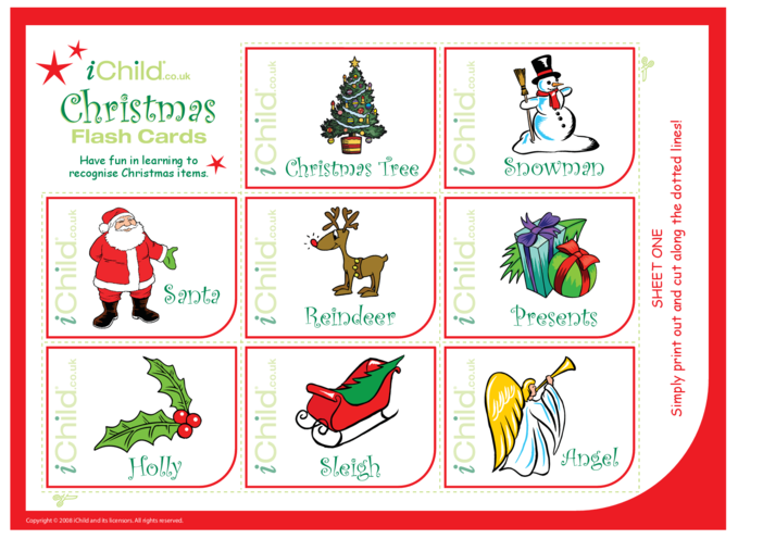 Thumbnail image for the Christmas Flash Cards activity.