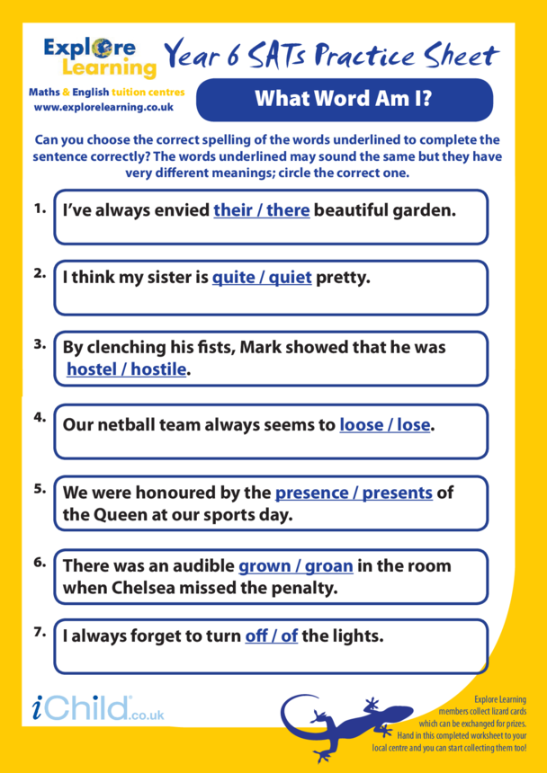 SATS Practice Paper Year 6: What Word am I?