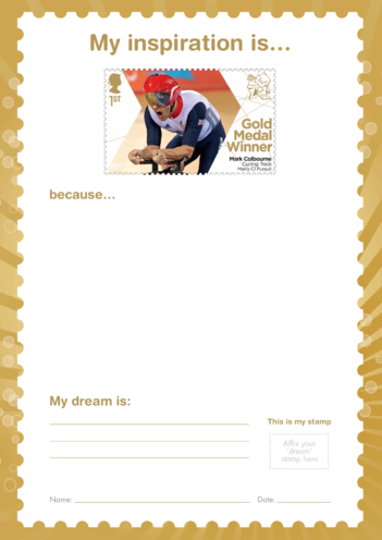 Thumbnail image for the My Inspiration Is- Mark Colbourne- Gold Medal Winner Stamp Template activity.