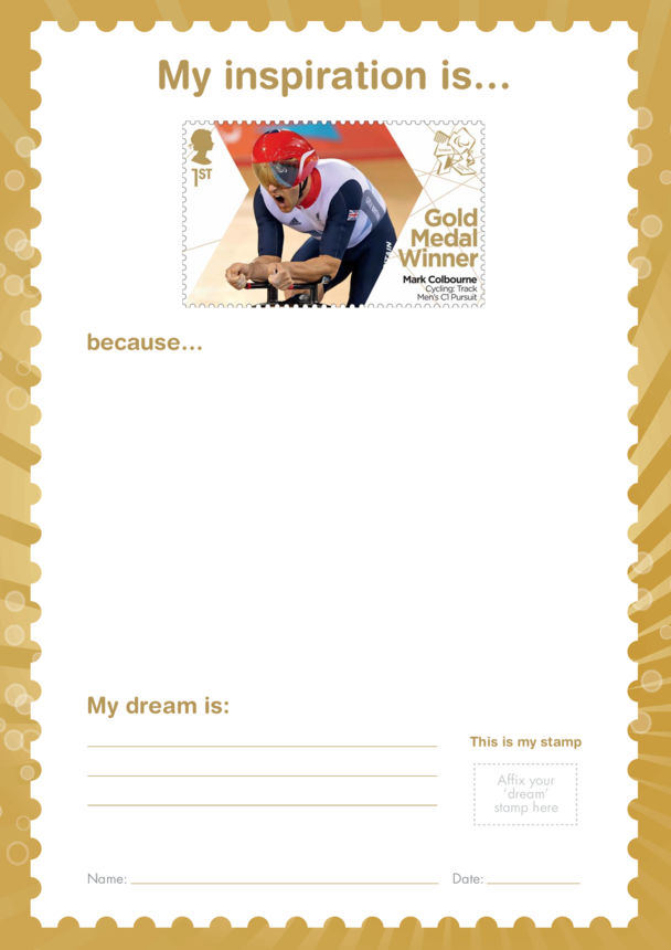 My Inspiration Is- Mark Colbourne- Gold Medal Winner Stamp Template