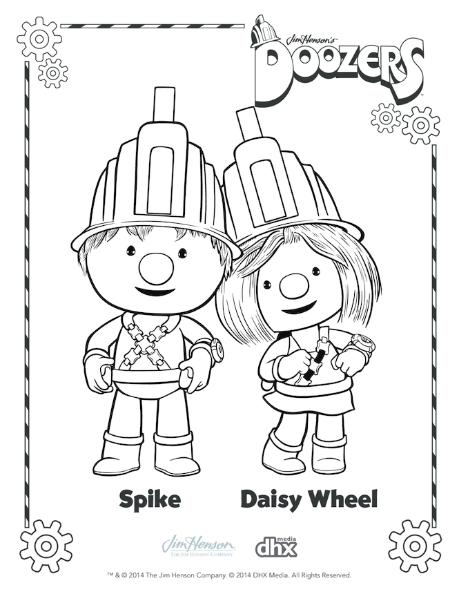 Spike & Daisy Wheel Colouring in Picture (Doozers)