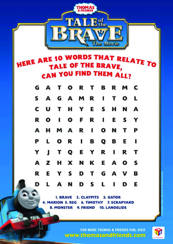 Thumbnail image for the Tale of the Brave Wordsearch (Thomas & Friends) activity.