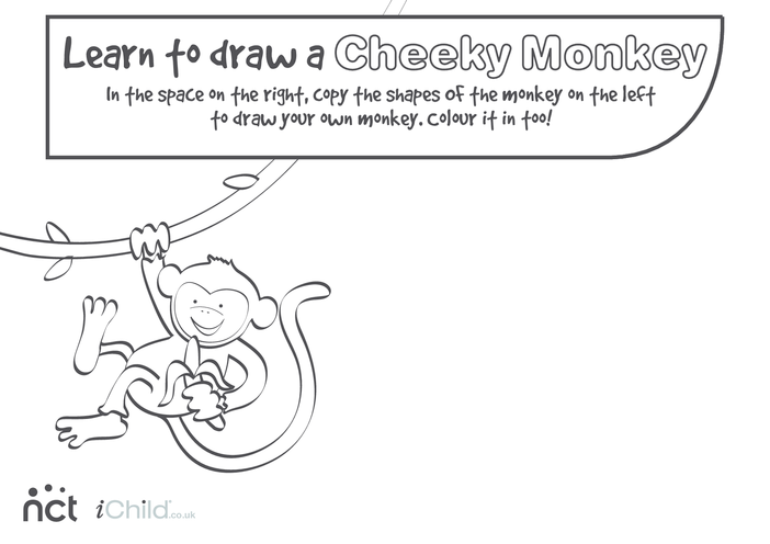 Thumbnail image for the Cheeky Monkey Drawing activity.