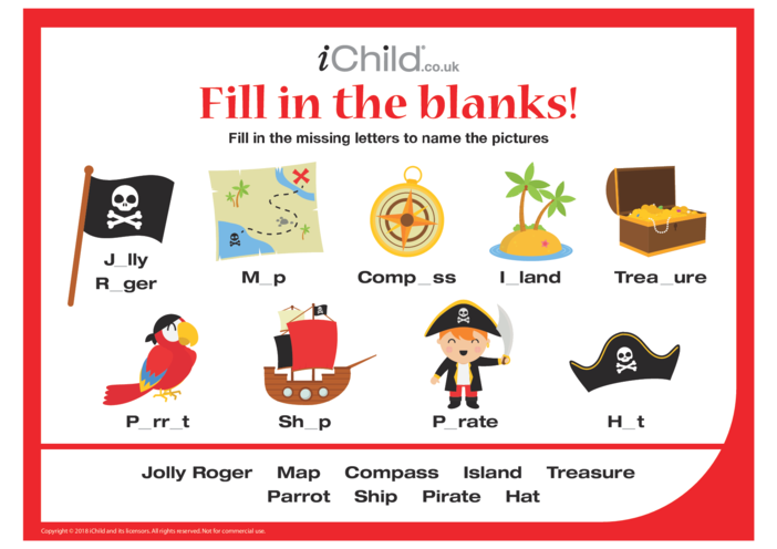 Thumbnail image for the Fill in the blanks - Pirates! activity.