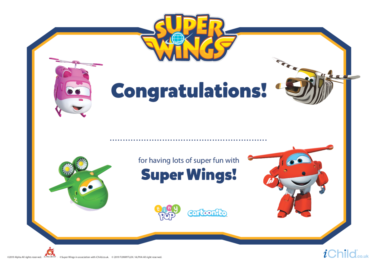 Super Wings Certificate (White Background)