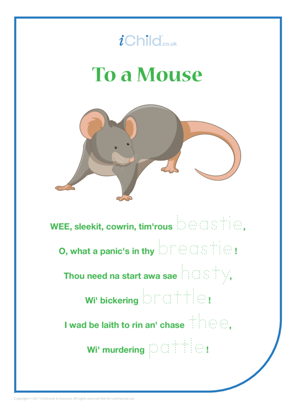 To a Mouse Poem & Handwriting Practice Sheet