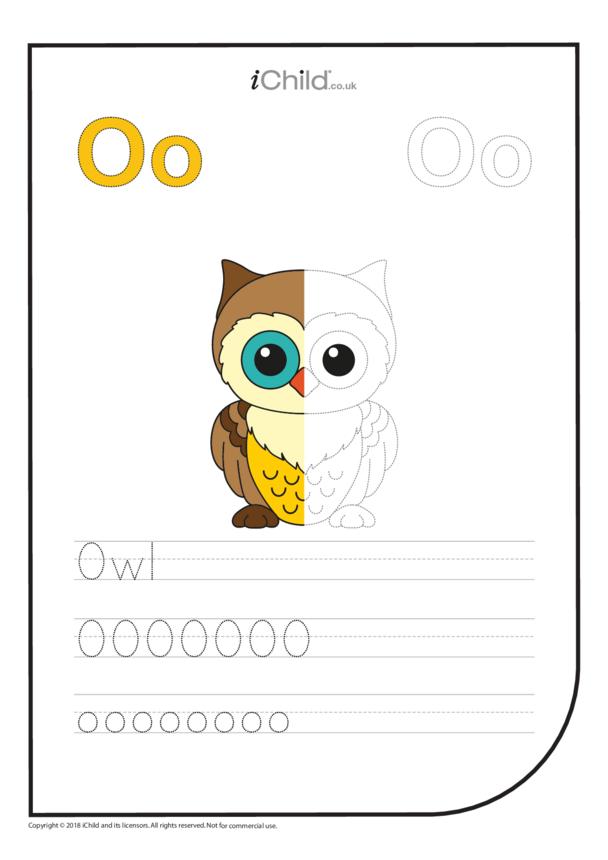 O: Write the letter O for Owl