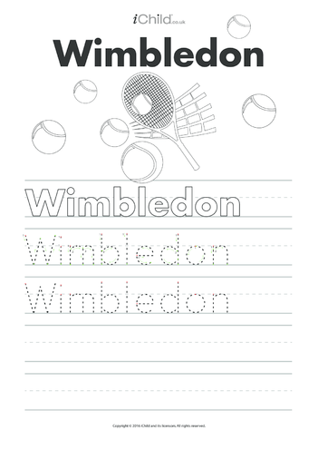 Thumbnail image for the Wimbledon Handwriting Practice Sheet activity.