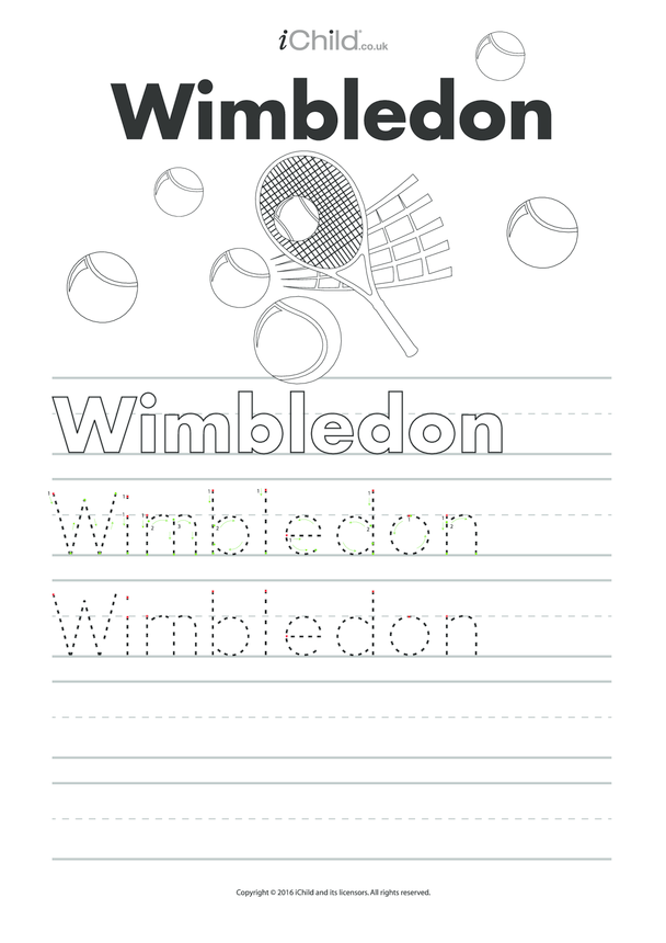 Wimbledon Handwriting Practice Sheet
