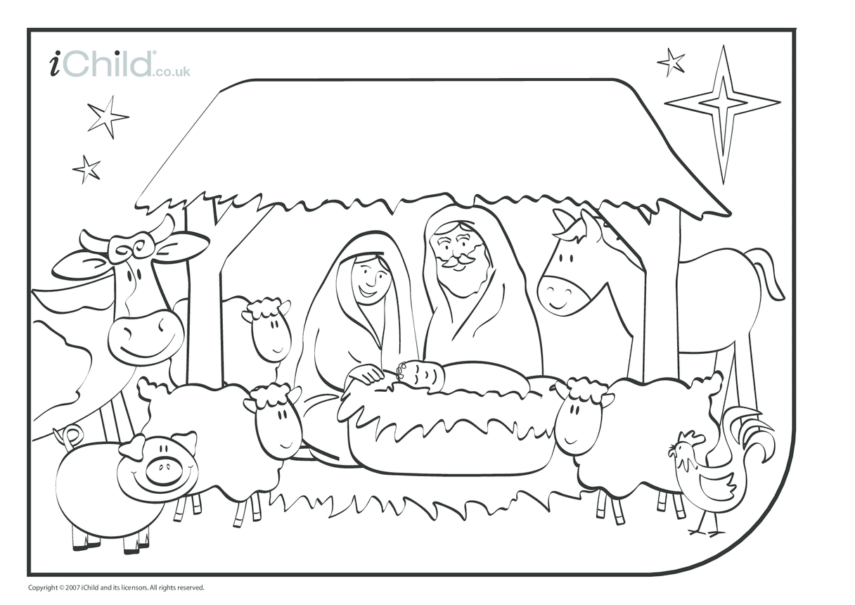 Nativity Christmas Colouring in picture