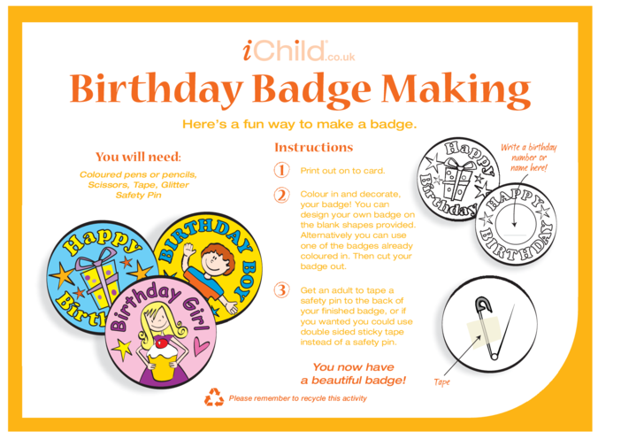 Thumbnail image for the Birthday Badges designs template activity.
