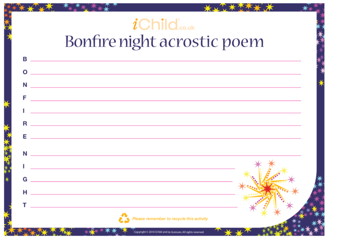 Thumbnail image for the Bonfire Night Acrostic Poem activity.