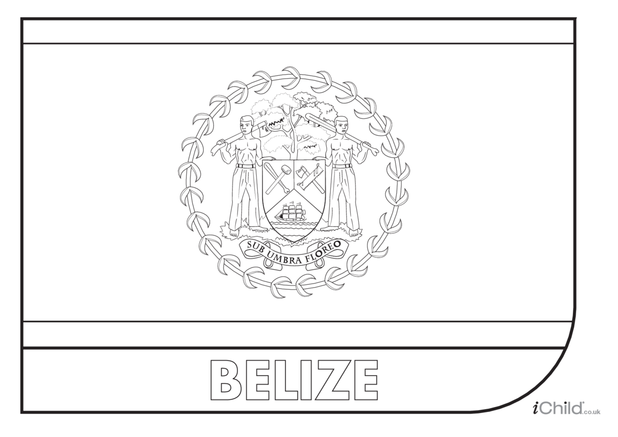 Belize Flag Colouring in Picture (flag of Belize)