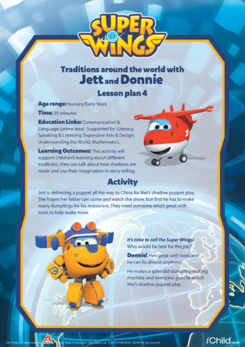 Thumbnail image for the Super Wings: Lesson Plan 4, Traditions Around the World with Jett and Donnie activity.