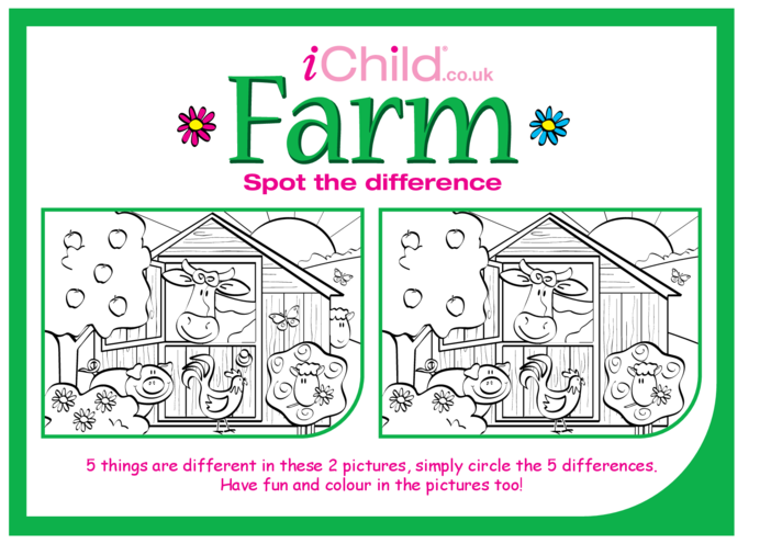 Thumbnail image for the Farm Spot the Difference activity.