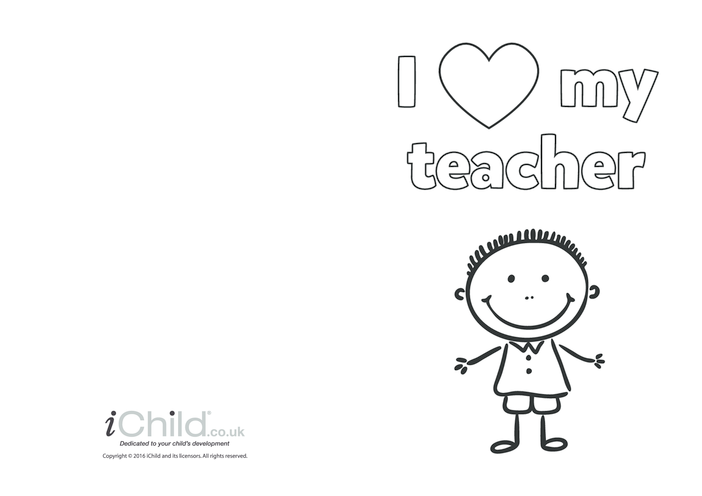 Thumbnail image for the I Love My Teacher (boy picture) activity.