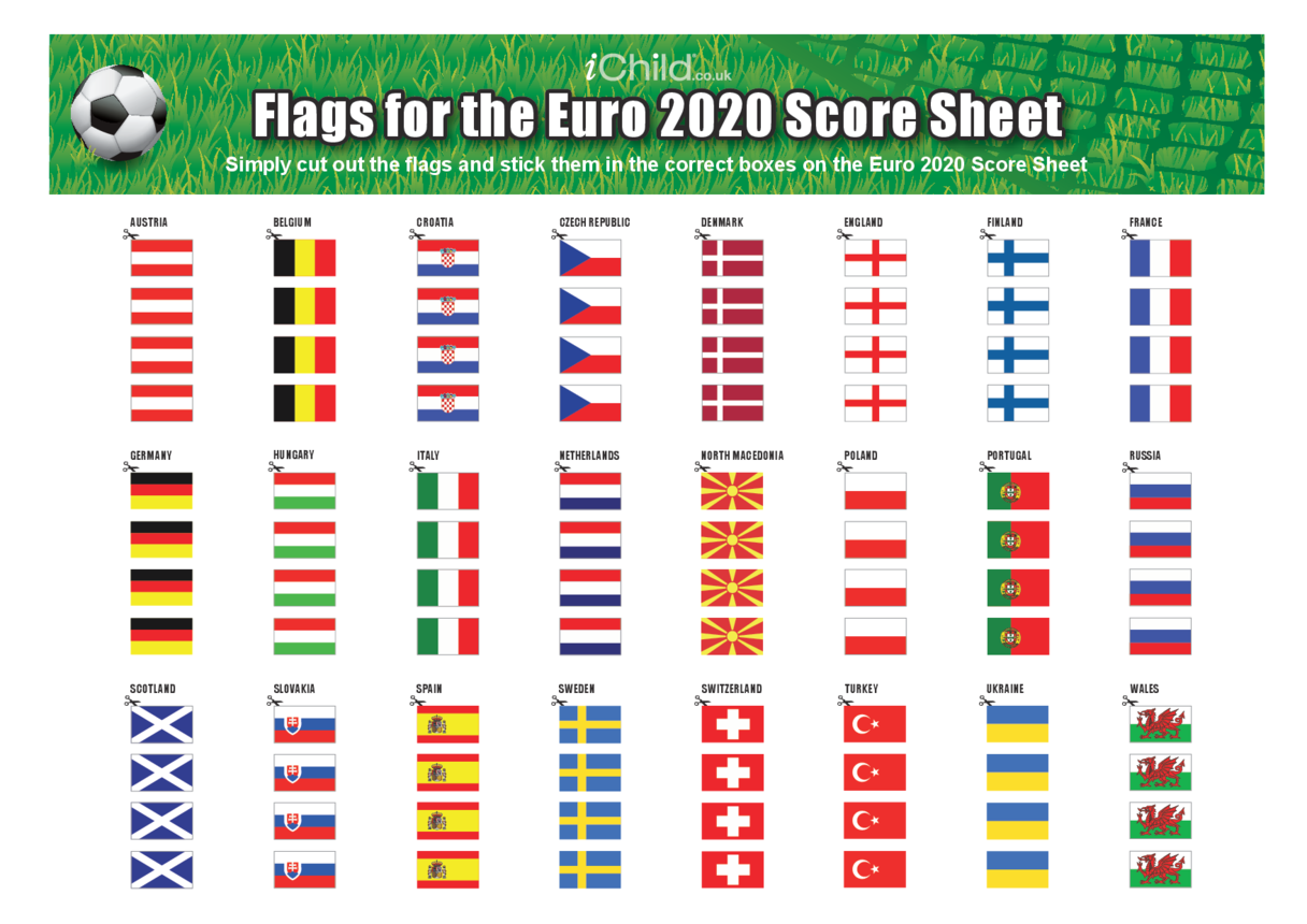 Flags for the Euro 2020 Score Sheet